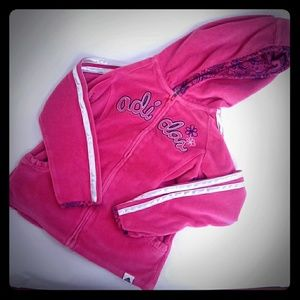 Adidas fuschia pink velour hooded zip ruffles coat
